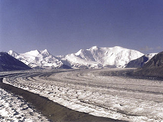 Nabesna Glacier - The Nabesna Glacier, with Mount Blackburn at right; Atna Peaks is the twin summit left of center