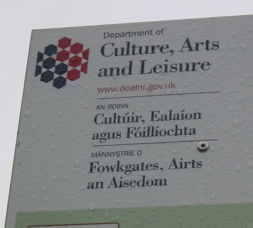 Multilingual sign Department Culture Leisure Arts Northern Ireland