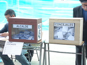 Chilean municipal election, 2008 - Ballot boxes for votes for mayors and council people, seen on a polling station in Peñalolén.