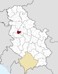 Location of the municipality of Ub within Serbia