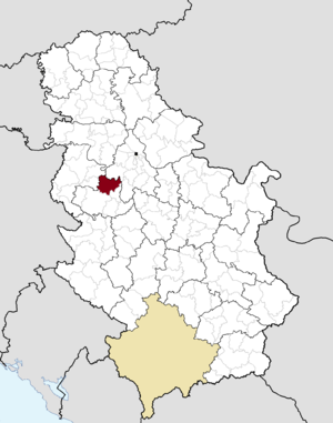 Ub, Serbia - Image: Municipalities of Serbia Ub