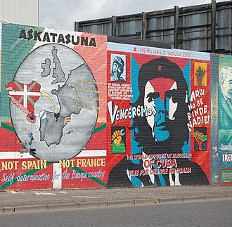 Left-wing nationalism - A republican mural in Belfast showing solidarity with Basque nationalism.