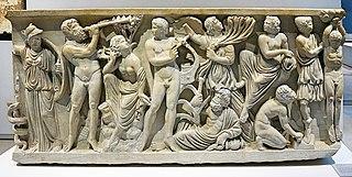 Sarcophage : concours musicale entre le dieu Apollon et le satyre Marsyas