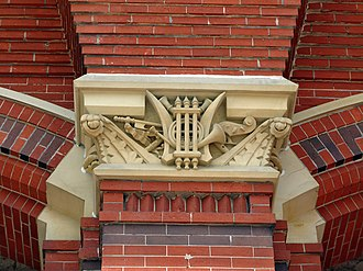 Cincinnati Music Hall - Detail of structure's music-themed ornamentation.