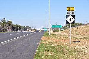 North Carolina Highway 147 - Northbound on Toll NC 147
