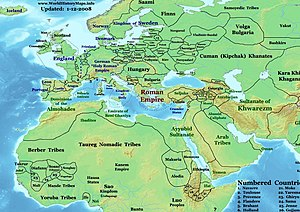 Ouagadougou - Europe, Africa and the Near East in 1200 AD, showing the Kingdom of Wagadugu (in West Africa, just to the right of the area labeled '25') and its neighbors.