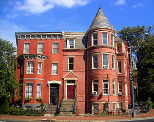 Logan Circle, Washington, D.C. - Row houses on the northeast corner of Logan Circle, including the former residence (right) of writer Ambrose Bierce