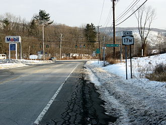New York State Route 17M - NY 17M's eastern terminus at NY 17 in Harriman.