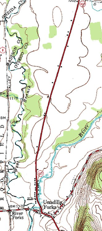 County Route 18 (Otsego County, New York) - NY 413 topo map, depicting its entire length