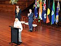 Narendra Modi addressing the gathering at the Civic Reception, at City Hall, in Brisbane, Australia. The Premier of Queensland, Mr. Campbell Newman and the Lord Mayor of Brisbane, Mr. Graham Quirk is also seen.jpg