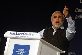 English: Narendra Modi, Chief Minister of Guja...