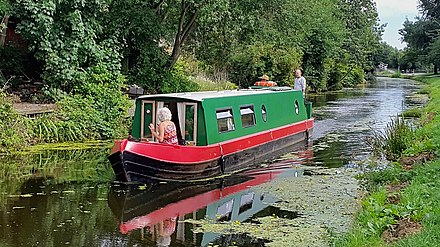 A narrowboat on the Lancaster Canal at Ashton-on-Ribble Narrowboat Lancaster Canal Preston 20180806.jpg