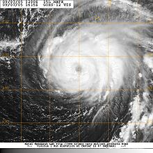 Satellite image of hurricane. An eye feature is visible near the center.