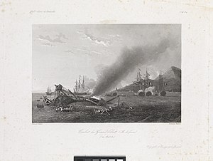 Pencil drawing similar to the painting in the infobox. A burning and sinking frigate appears in the foreground with men abandoning the ship in boats. Behind the vessel are two other ships and to the right of the image are three other ships clustered together under a large mountain.