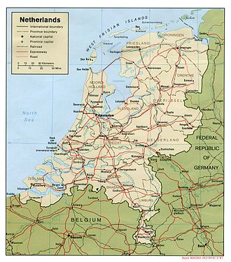 Outline of the Netherlands - An enlargeable map of the European Netherlands