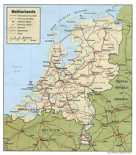 Map of the Netherlands (ca. 1975; see also a more recent railway map)