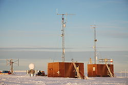 Stair towers of Neumayer Station II in February 2008