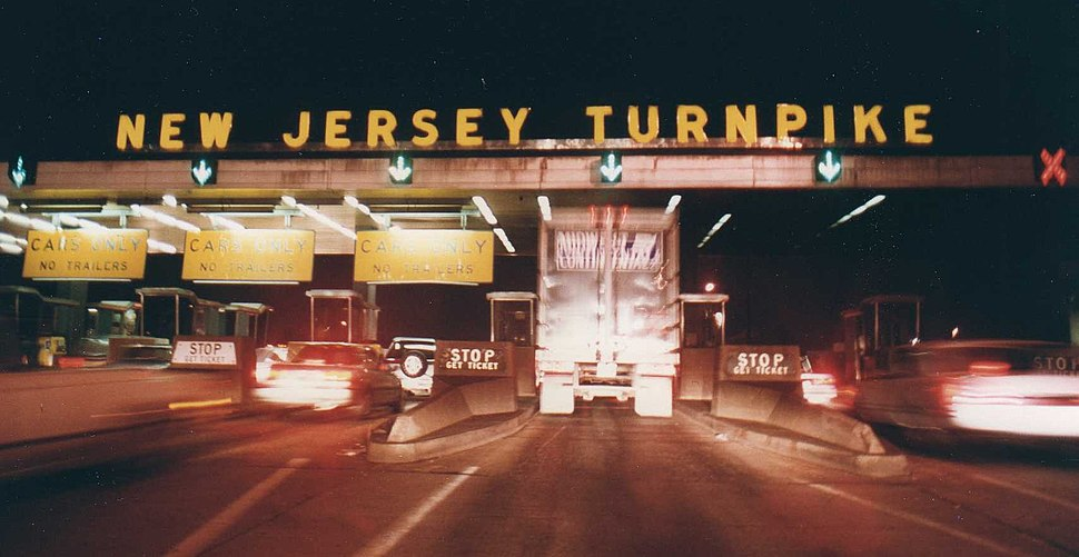 New Jersey Turnpike Exit 11 Tollbooth at night, 1992