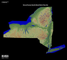 Relief map of New York State.