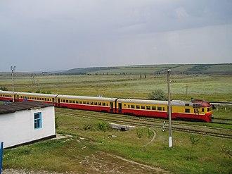 Calea Ferată din Moldova - One of the old D1 DMUs on the Chișinău-Comrat line.