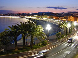 A view along the Promenade des Anglais in Nice at night