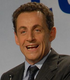 Nicolas Sarkozy during his meeting in Toulouse...