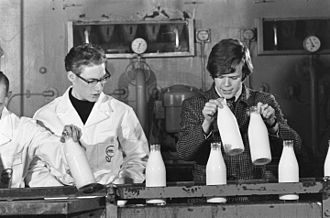 "Peter Noone - Peter Noone in a Dutch dairy factory, after the handing over of a gold record for ""No Milk Today"" in the Netherlands in 1966"
