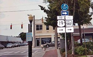 U.S. Route 19 Alternate (Florida) - West end of State Road 582 at ALT US 19 in Tarpon Springs, Florida; July 28, 2003