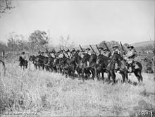 North Australia Observer Unit troopers on horseback at Katherine in 1943 (AWM photo 058471).jpg