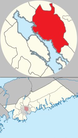 Location of Dartmouth, shown in red
