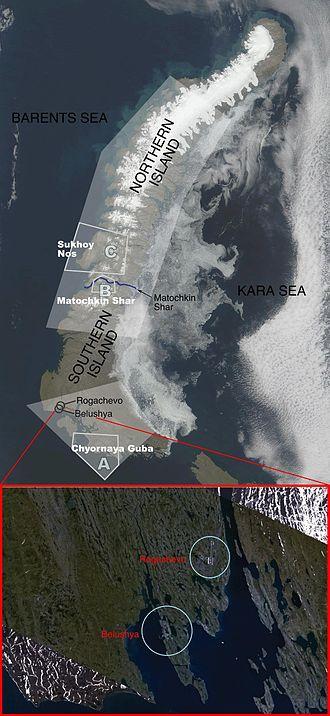 Novaya Zemlya - Novaya Zemlya's major test site boundaries and facilities