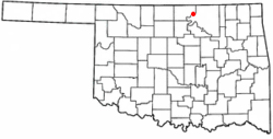 Location of Kaw City, Oklahoma