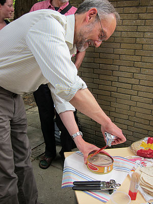 Harold McGee - Harold McGee tastes surstromming (Swedish fermented herring) at the Oxford Symposium on Food and Cookery, 2010