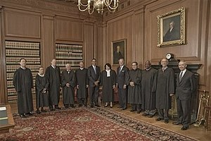 President Barack Obama and Vice President Joe Biden with the members of the Supreme Court and retiring justice David Souter