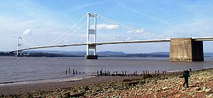 Severn Bridge - The Severn Bridge seen from the English side of the river