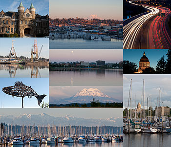 (Frae tap left tae bottom richt) Auld Caipitol Biggin, East Olympia, Interstate 5 at the junction o U.S. Route 101, Port o Olympia, Dountoun frae Capitol Loch, Washington State Caipitol, Salmon sculptur, Moont Rainier, Olympic Moontains an Swantown Marina, Percival Laundin Pairk.