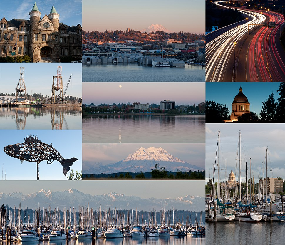 (From top) Old Capitol Building, East Olympia, Interstate 5 at the junction of U.S. Route 101, Port of Olympia, Downtown from Capitol Lake, Washington State Capitol, Salmon sculpture, Mount Rainier, Olympic Mountains and Swantown Marina, Percival Landing Park.