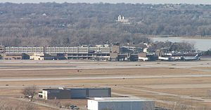 Carter Lake (Iowa–Nebraska) - View of Eppley Airfield with Carter Lake visible to the right
