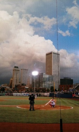 ONEOK Field - View of the Tulsa skyline from behind the ONEOK Field home plate