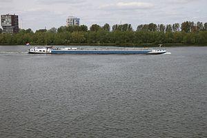 Op de maas varen veel grote boten.JPG