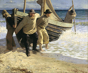 Launching the Boat. Skagen - Oscar Bjørck: Launching the Boat. Skagen (1884)