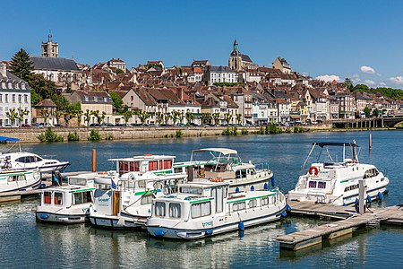 Joigny and the banks of the Yonne river, France