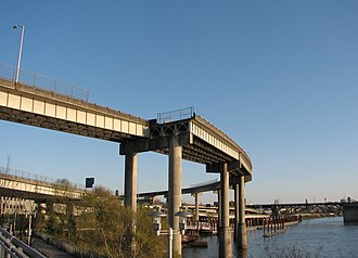 Unused highway - A now unused ramp in Portland, Oregon at the western terminus of I-84 on the east bank of the Willamette River formerly a connection to US99W/Steel Bridge