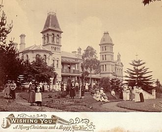 Hordern family - Shubra Hall in PLC grounds in 1892, home of Anthony Hordern III