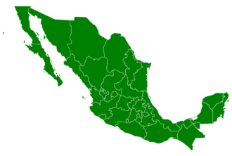 Mexican general election, 1994 - States won in red by PRI