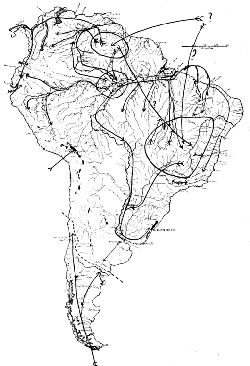 PSM V68 D520 Demarcations of patagonian and tropical fauna plus migration lines.png