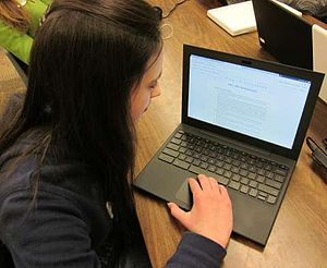 Chromebook - A Paradise Valley Unified School District student using a Chromebook as part of the organization's pilot project