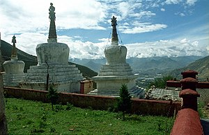 Pabonka Hermitage - Chortens and view towards Lhasa