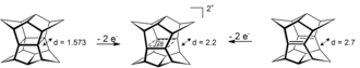 Homoaromaticity - Oxidation of pagodane and dodecahedradiene to a sigma-bishomoaromatic dication. Distances in angstrom calculated at HF/3-21G level for the dication an the diene, x-ray for the neutral