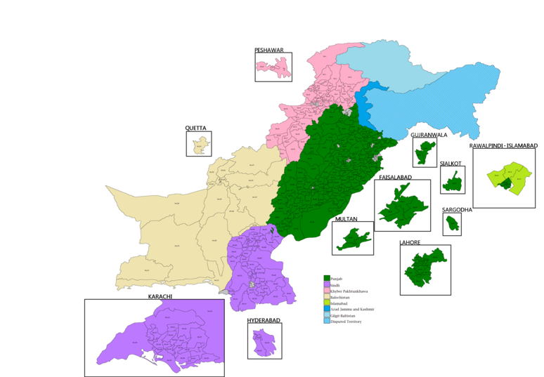 Constituencies map of national assembly after delimitation in 2018 Pakistan National Assembly Constituency Map 2018.png